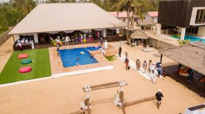 Photo shot of guests attending Mr Biodun Awosika's 60th birthday beach party.