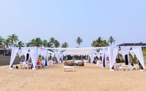 Front view of Mr Biodun Awosika's 60th birthday beach party.